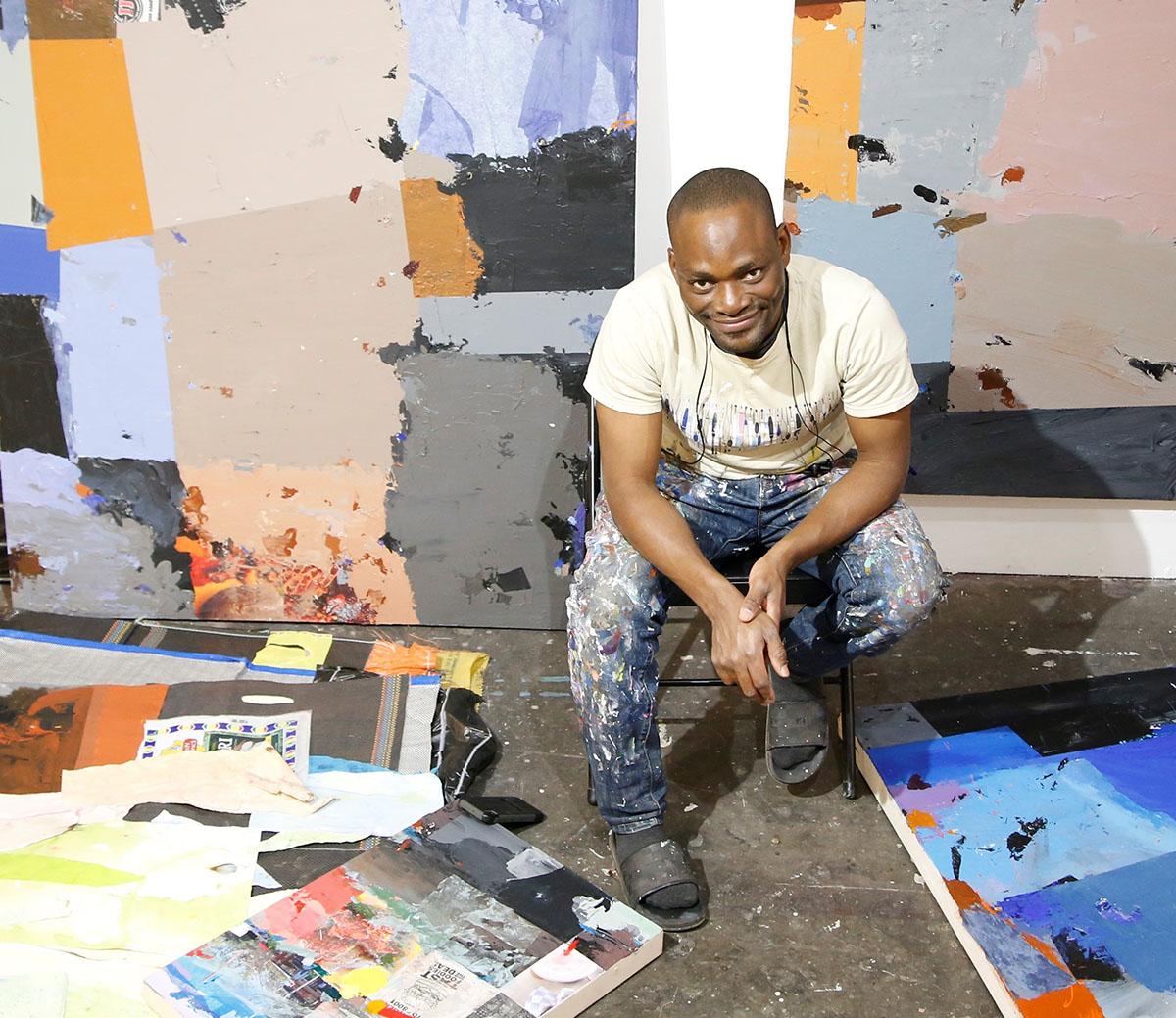 An artist working in a studio