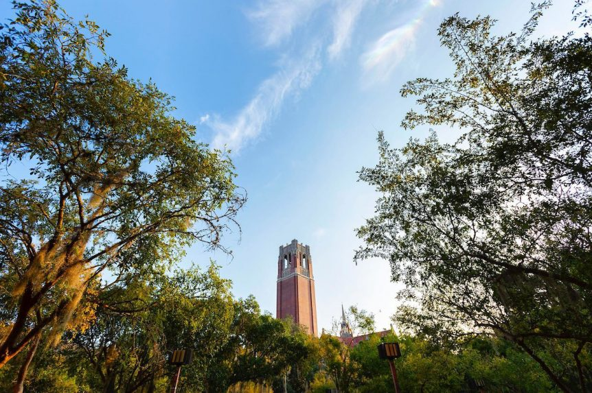 A large brick tower on UF's campus