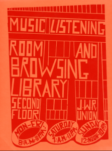 Poster advertising Music Listening Room And Browsing Library