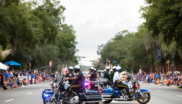 Police on motorcycles in parade